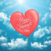 Valentine's card with heart-shaped balloons