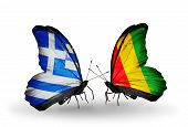 Two Butterflies With Flags On Wings As Symbol Of Relations Greece And Guinea