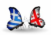 Two Butterflies With Flags On Wings As Symbol Of Relations Greece And  Georgia