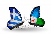 Two Butterflies With Flags On Wings As Symbol Of Relations Greece And Djibouti