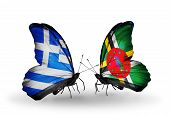 Two Butterflies With Flags On Wings As Symbol Of Relations Greece And Dominica