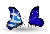 Two Butterflies With Flags On Wings As Symbol Of Relations Greece And European Union
