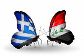 Two Butterflies With Flags On Wings As Symbol Of Relations Greece And Iraq