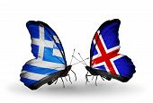 Two Butterflies With Flags On Wings As Symbol Of Relations Greece And Iceland