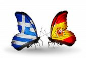 Two Butterflies With Flags On Wings As Symbol Of Relations Greece And Spain