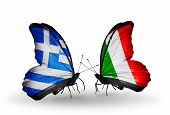 Two Butterflies With Flags On Wings As Symbol Of Relations Greece And  Italy