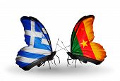 Two Butterflies With Flags On Wings As Symbol Of Relations Greece And Cameroon
