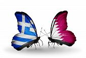 Two Butterflies With Flags On Wings As Symbol Of Relations Greece And Qatar