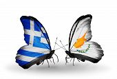 Two Butterflies With Flags On Wings As Symbol Of Relations Greece And Cyprus