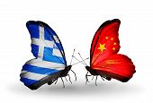Two Butterflies With Flags On Wings As Symbol Of Relations Greece And China