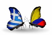 Two Butterflies With Flags On Wings As Symbol Of Relations Greece And Columbia