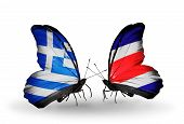 Two Butterflies With Flags On Wings As Symbol Of Relations Greece And Costa Rica