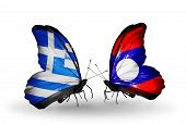 Two Butterflies With Flags On Wings As Symbol Of Relations Greece And Laos