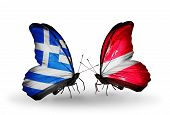 Two Butterflies With Flags On Wings As Symbol Of Relations Greece And Latvia
