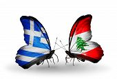 Two Butterflies With Flags On Wings As Symbol Of Relations Greece And Lebanon