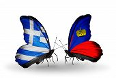 Two Butterflies With Flags On Wings As Symbol Of Relations Greece And Liechtenstein