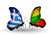Two Butterflies With Flags On Wings As Symbol Of Relations Greece And Lithuania