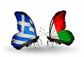 Two Butterflies With Flags On Wings As Symbol Of Relations Greece And Madagascar