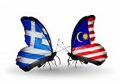 Two Butterflies With Flags On Wings As Symbol Of Relations Greece And Malaysia