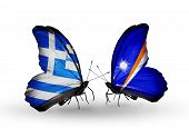 Two Butterflies With Flags On Wings As Symbol Of Relations Greece And Marshall Islands