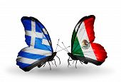 Two Butterflies With Flags On Wings As Symbol Of Relations Greece And Mexico