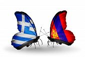 Two Butterflies With Flags On Wings As Symbol Of Relations Greece And Mongolia