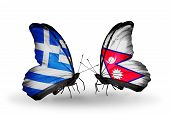 Two Butterflies With Flags On Wings As Symbol Of Relations Greece And Nepal