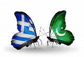 Two Butterflies With Flags On Wings As Symbol Of Relations Greece And Pakistan