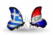 Two Butterflies With Flags On Wings As Symbol Of Relations Greece And Paraguay