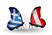 Two Butterflies With Flags On Wings As Symbol Of Relations Greece And Peru