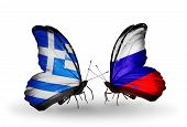 Two Butterflies With Flags On Wings As Symbol Of Relations Greece And Russia