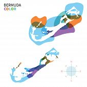 Abstract vector color map of Bermuda with transparent paint effect.