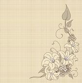 Floral fantasy on canvas background with place for copy\text