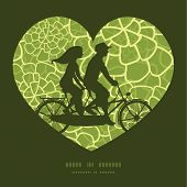 picture of tandem bicycle  - Vector abstract green natural texture couple on tandem bicycle heart silhouette frame pattern greeting card template graphic design - JPG