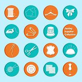 vector set of sewing equipment icons