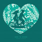 stock photo of tandem bicycle  - Vector emerald green plants couple on tandem bicycle heart silhouette frame pattern greeting card template graphic design - JPG