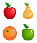 set of vector realistic glossy fruits