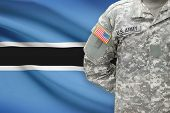 American Soldier With Flag On Background - Botswana
