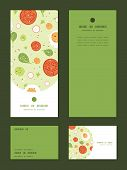 Vector fresh salad vertical frame pattern invitation greeting, RSVP and thank you cards set