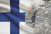 American Soldier With Flag On Background - Finland