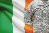 American Soldier With Flag On Background - Ireland
