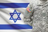 American Soldier With Flag On Background - Israel