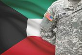 American Soldier With Flag On Background - Kuwait