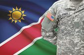American Soldier With Flag On Background - Namibia