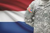 American Soldier With Flag On Background - Netherlands