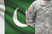 American Soldier With Flag On Background - Pakistan