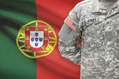 American Soldier With Flag On Background - Portugal