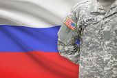 American Soldier With Flag On Background - Russia