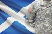 American Soldier With Flag On Background - Scotland