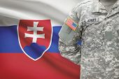 American Soldier With Flag On Background - Slovakia